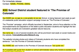 Download Press Release for Promise Student